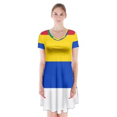 Druze Flag  Short Sleeve V Neck Flare Dress