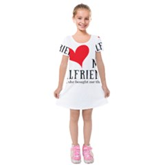 I Love My Girlfriend Kids  Short Sleeve Velvet Dress by digitalartjunkie