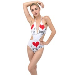 I Love My Wife Plunging Cut Out Swimsuit by digitalartjunkie