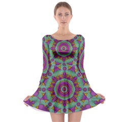 Water Garden Lotus Blossoms In Sacred Style Long Sleeve Skater Dress by pepitasart