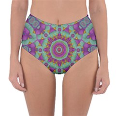 Water Garden Lotus Blossoms In Sacred Style Reversible High Waist Bikini Bottoms