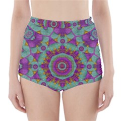Water Garden Lotus Blossoms In Sacred Style High Waisted Bikini Bottoms by pepitasart