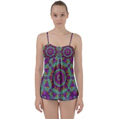 Water Garden Lotus Blossoms In Sacred Style Babydoll Tankini Set by pepitasart