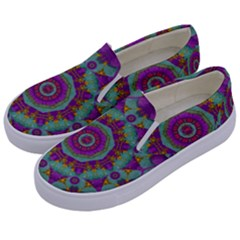Water Garden Lotus Blossoms In Sacred Style Kids  Canvas Slip Ons by pepitasart