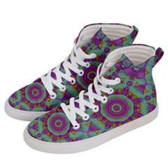 Water Garden Lotus Blossoms In Sacred Style Men s Hi Top Skate Sneakers by pepitasart