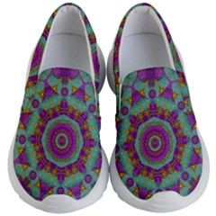Water Garden Lotus Blossoms In Sacred Style Kid s Lightweight Slip Ons by pepitasart