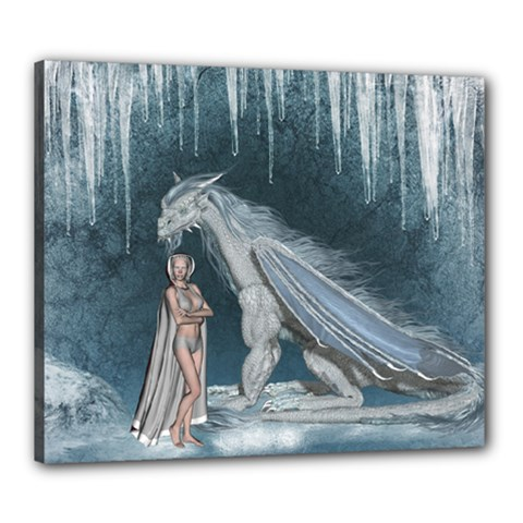 Wonderful Fairy With Ice Dragon Canvas 24  X 20  (stretched) by FantasyWorld7
