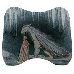 Wonderful Fairy With Ice Dragon Velour Head Support Cushion by FantasyWorld7