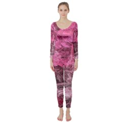 Pink Crystal Fractal Long Sleeve Catsuit