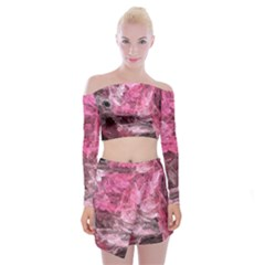 Pink Crystal Fractal Off Shoulder Top With Mini Skirt Set