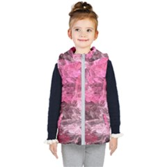 Pink Crystal Fractal Kid s Hooded Puffer Vest