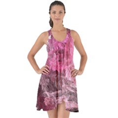 Pink Crystal Fractal Show Some Back Chiffon Dress
