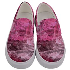 Pink Crystal Fractal Men s Canvas Slip Ons