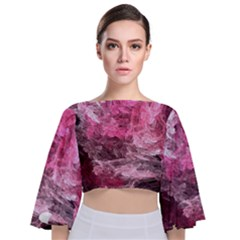 Pink Crystal Fractal Tie Back Butterfly Sleeve Chiffon Top