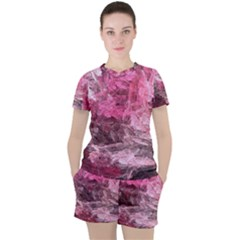 Pink Crystal Fractal Women s Tee And Shorts Set