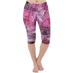 Pink Crystal Fractal Lightweight Velour Cropped Yoga Leggings by bloomingvinedesign