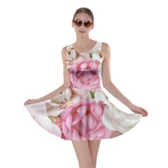 Pink And White Flowers Skater Dress