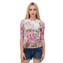 Pink And White Flowers Quarter Sleeve Raglan Tee