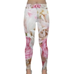 Pink And White Flowers Classic Yoga Leggings