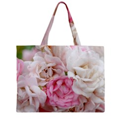 Pink And White Flowers Zipper Mini Tote Bag