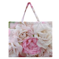 Pink And White Flowers Zipper Large Tote Bag