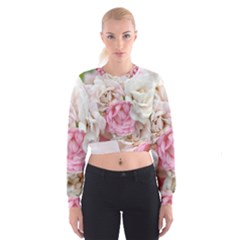 Pink And White Flowers Cropped Sweatshirt