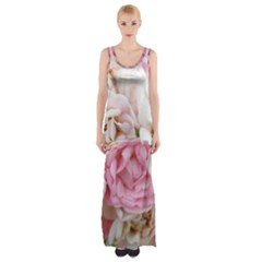 Pink And White Flowers Maxi Thigh Split Dress