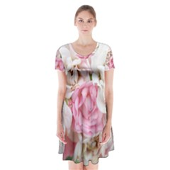 Pink And White Flowers Short Sleeve V-neck Flare Dress