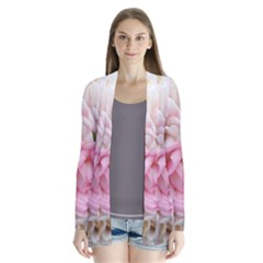 Pink And White Flowers Drape Collar Cardigan