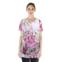 Pink And White Flowers Skirt Hem Sports Top