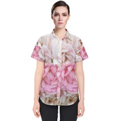 Pink And White Flowers Women s Short Sleeve Shirt