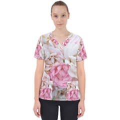 Pink And White Flowers Women s V-neck Scrub Top