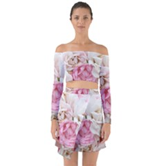 Pink And White Flowers Off Shoulder Top With Skirt Set