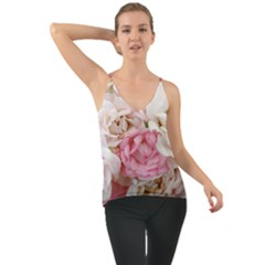 Pink And White Flowers Chiffon Cami