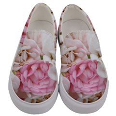 Pink And White Flowers Men s Canvas Slip Ons