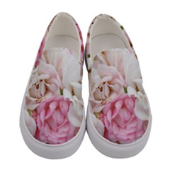 Pink And White Flowers Women s Canvas Slip Ons