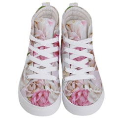 Pink And White Flowers Kid s Hi-top Skate Sneakers