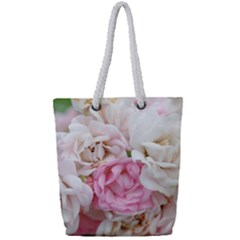 Pink And White Flowers Full Print Rope Handle Tote (small)
