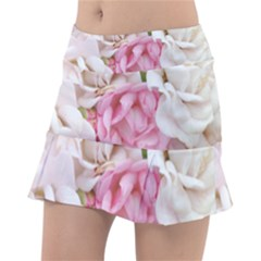 Pink And White Flowers Tennis Skirt