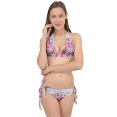 Pink And White Flowers Tie It Up Bikini Set by bloomingvinedesign