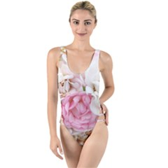 Pink And White Flowers High Leg Strappy Swimsuit