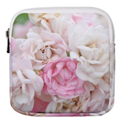 Pink And White Flowers Mini Square Pouch