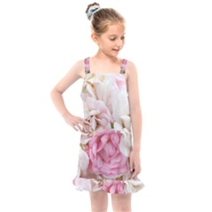 Pink And White Flowers Kids  Overall Dress