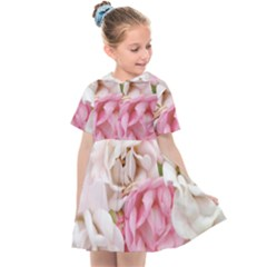 Pink And White Flowers Kids  Sailor Dress
