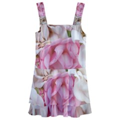 Pink And White Flowers Kids  Layered Skirt Swimsuit