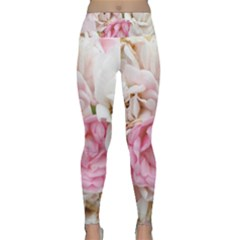 Pink And White Flowers Lightweight Velour Classic Yoga Leggings