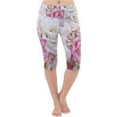 Pink And White Flowers Lightweight Velour Cropped Yoga Leggings