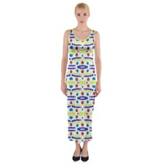 Retro Blue Yellow Brown Teal Dot Pattern Fitted Maxi Dress