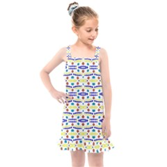 Retro Blue Yellow Brown Teal Dot Pattern Kids  Overall Dress