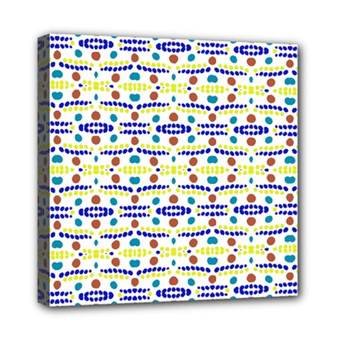 Retro Blue Yellow Brown Teal Dot Pattern Mini Canvas 8  X 8  (stretched) by BrightVibesDesign